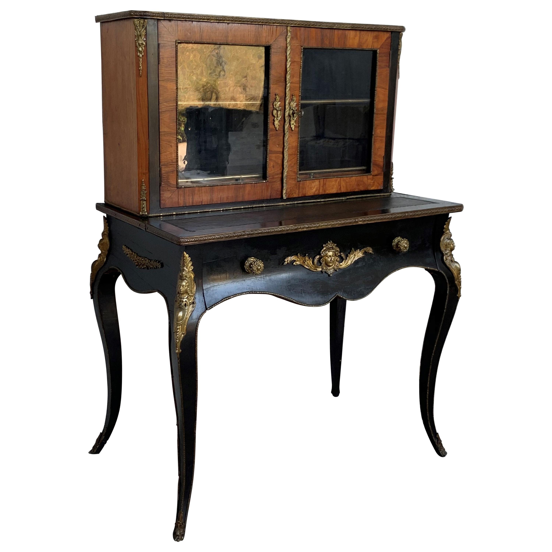 19th Century French Napoleon III Kingwood and Black Ebonized Writing Table 1850s