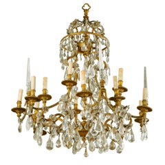 19th Century Gilt Bronze and Rock Crystal French Chandelier