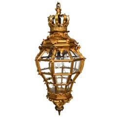 19th Century Gilt Bronze Lantern as Palace of Versailles Model