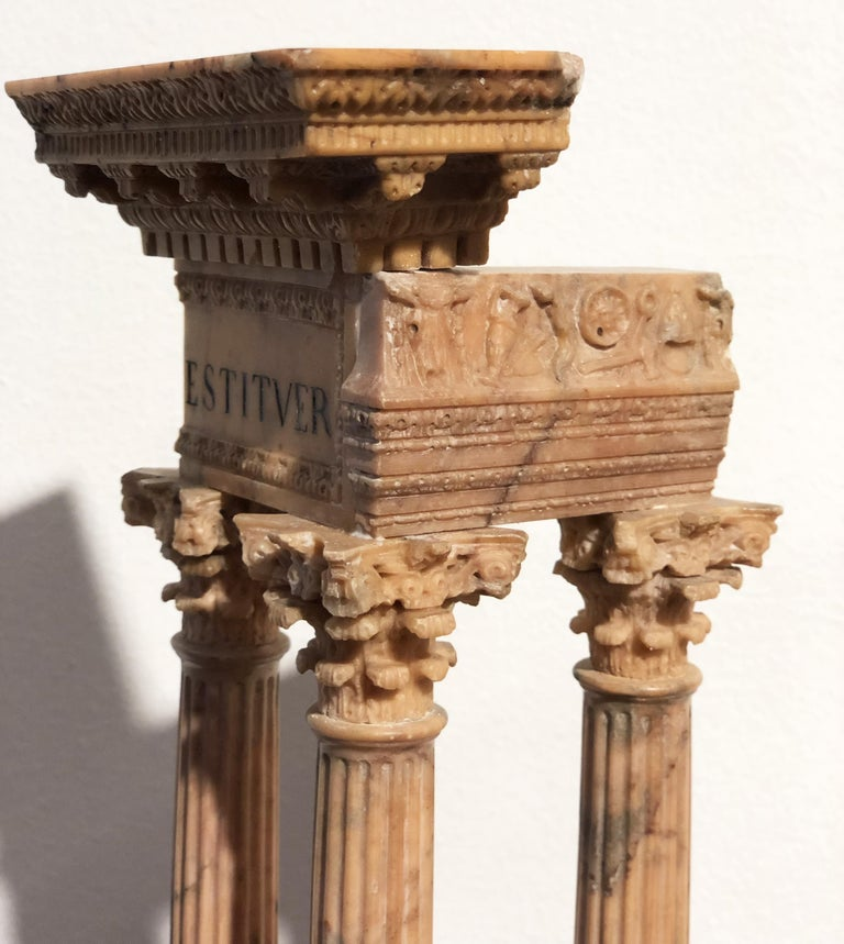 19th Grand Tour Yellow Marble Italian Model of Roman Classical Emperors Temple  For Sale 5