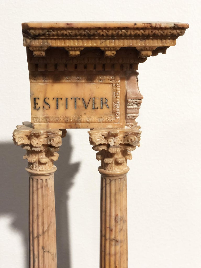 19th Grand Tour Yellow Marble Italian Model of Roman Classical Emperors Temple  For Sale 6