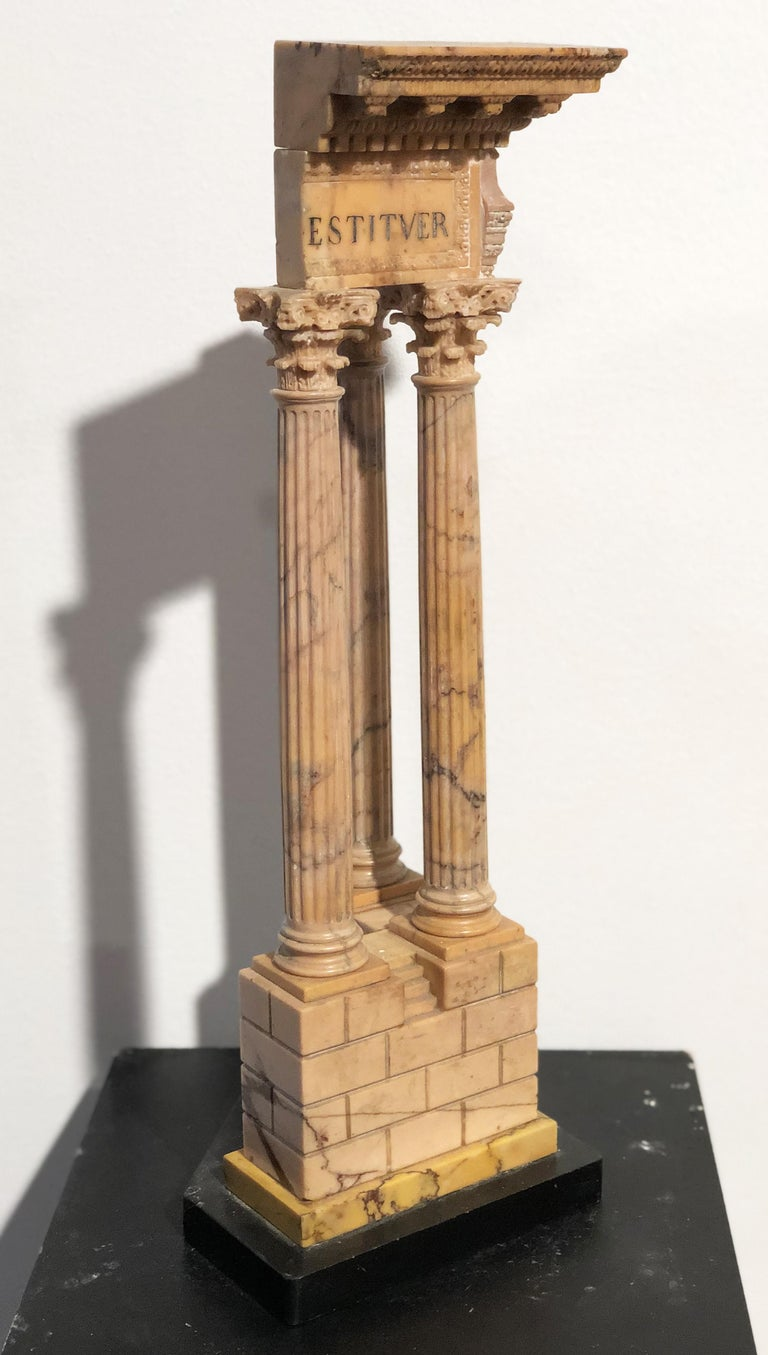 19th Grand Tour Yellow Marble Italian Model of Roman Classical Emperors Temple  For Sale 7