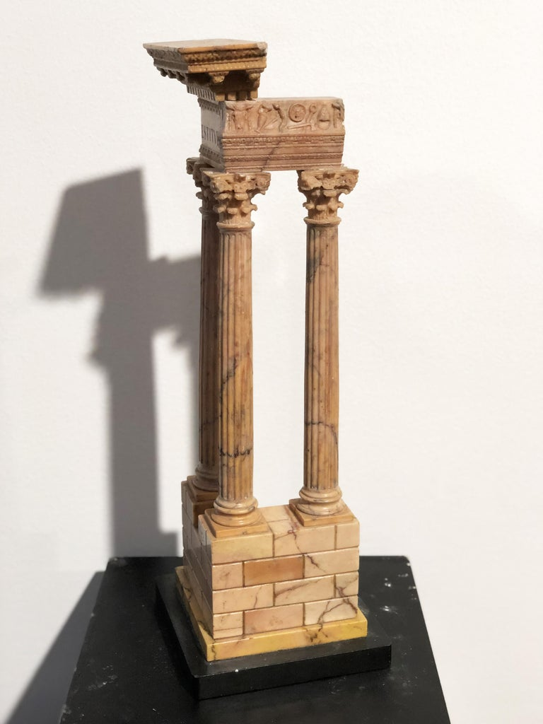 19th Grand Tour Yellow Marble Italian Model of Roman Classical Emperors Temple  For Sale 8