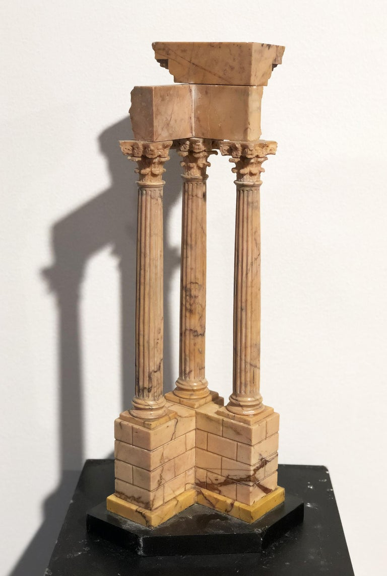 19th Grand Tour Yellow Marble Italian Model of Roman Classical Emperors Temple  For Sale 10