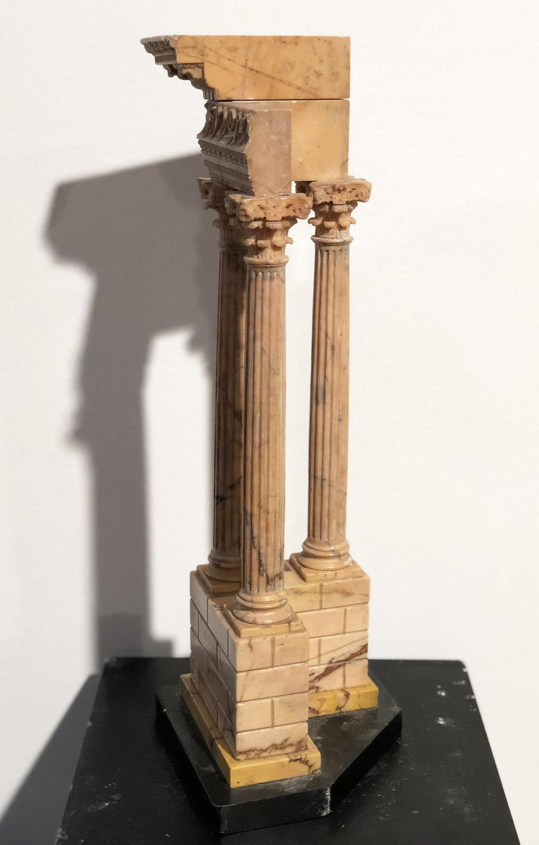 19th Grand Tour Yellow Marble Italian Model of Roman Classical Emperors Temple  For Sale 11