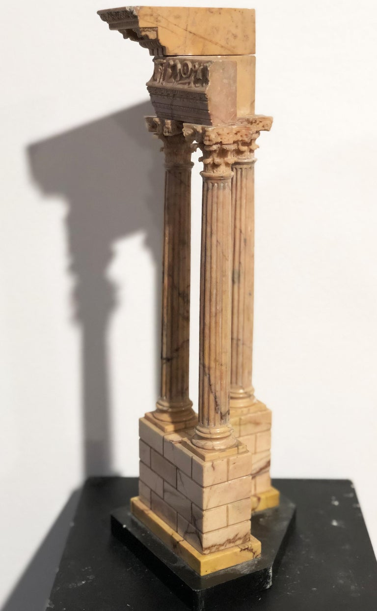 19th Grand Tour Yellow Marble Italian Model of Roman Classical Emperors Temple  For Sale 12