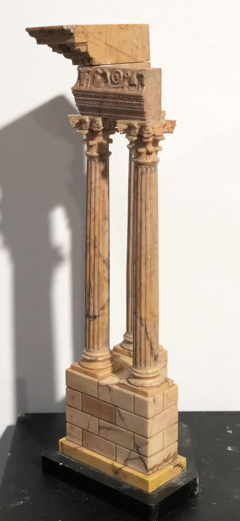 19th Grand Tour Yellow Marble Italian Model of Roman Classical Emperors Temple  For Sale 13