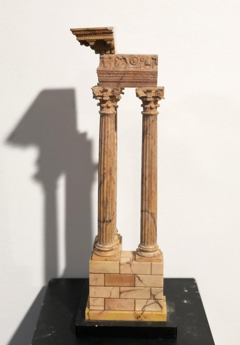 19th Grand Tour Yellow Marble Italian Model of Roman Classical Emperors Temple  For Sale 15