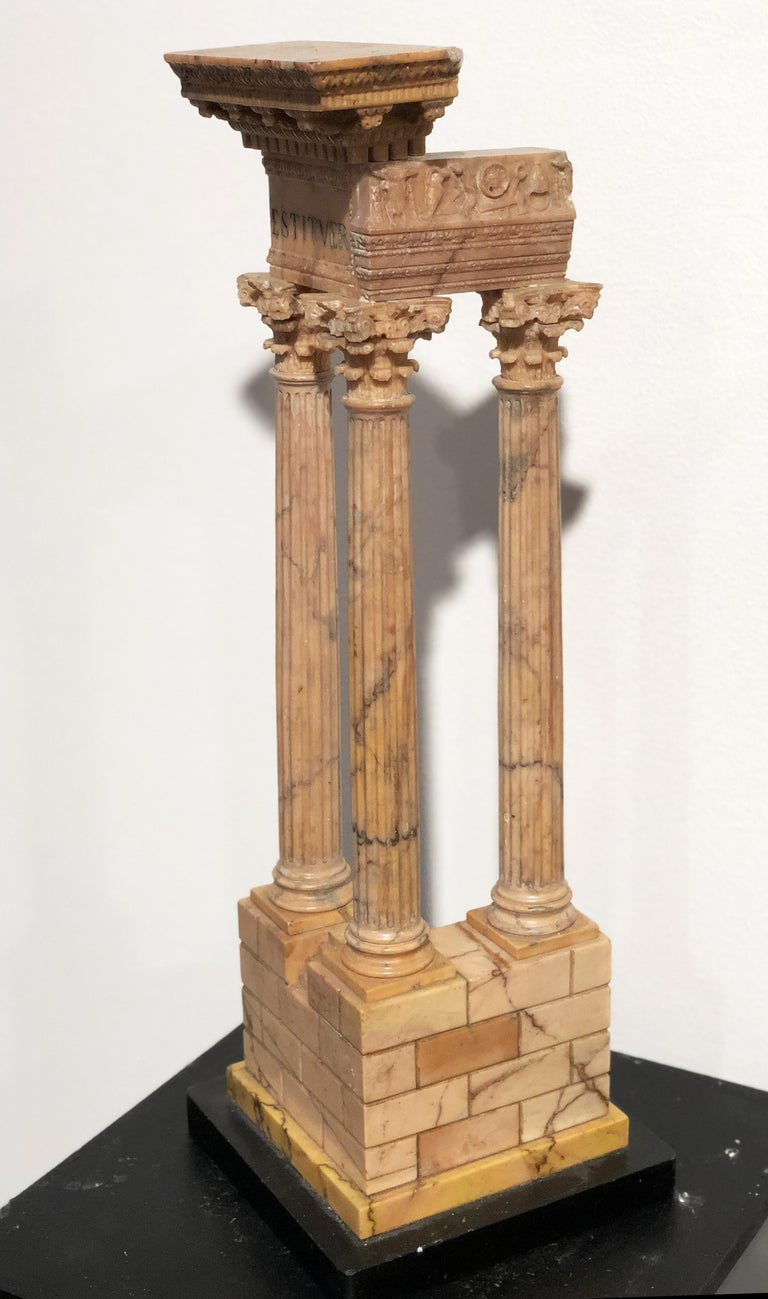 19th Century 19th Grand Tour Yellow Marble Italian Model of Roman Classical Emperors Temple  For Sale