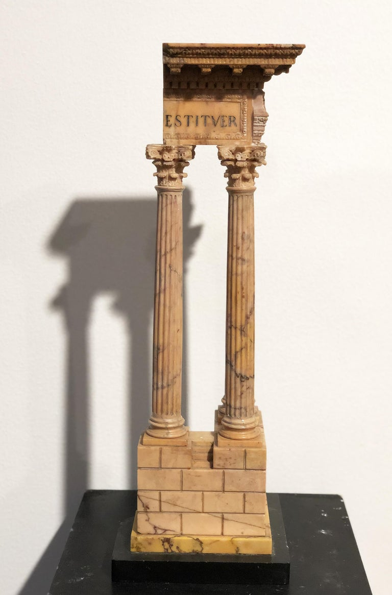 19th Grand Tour Yellow Marble Italian Model of Roman Classical Emperors Temple  For Sale 1