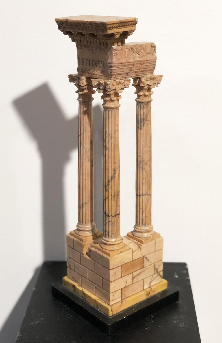 19th Grand Tour Yellow Marble Italian Model of Roman Classical Emperors Temple  For Sale 2