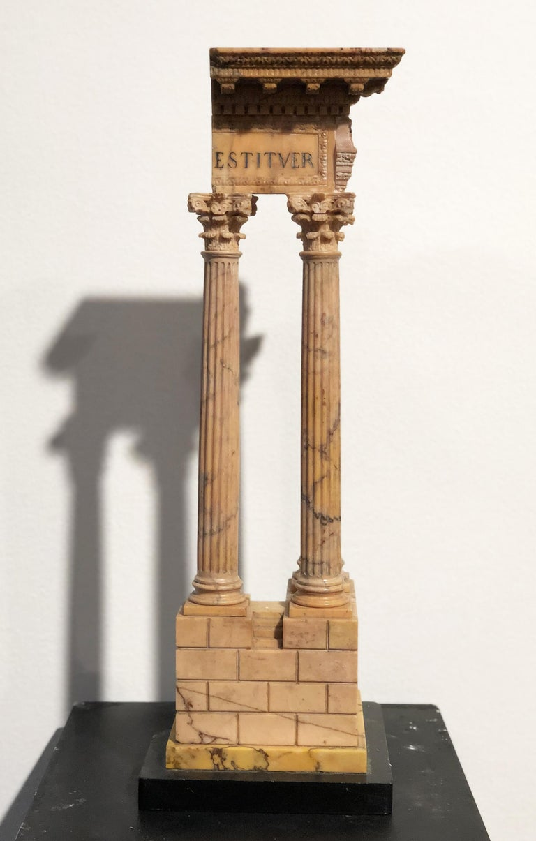19th Grand Tour Yellow Marble Italian Model of Roman Classical Emperors Temple  For Sale 3
