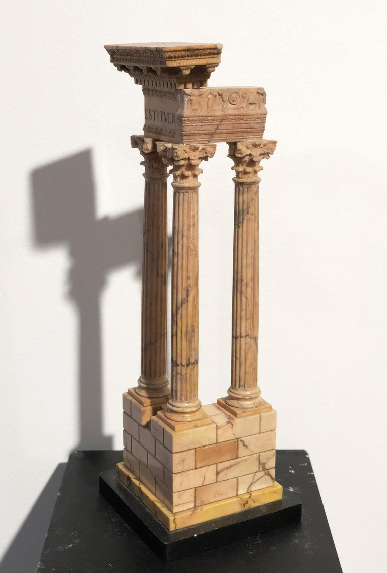 19th Grand Tour Yellow Marble Italian Model of Roman Classical Emperors Temple  For Sale 4