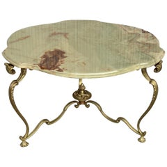 19th Green Onix Clover Form Top and Bronze Legs Coffee Table