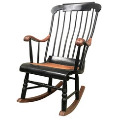 19th Hitchcock Rocking Chair with Woven Seat and Black Painted