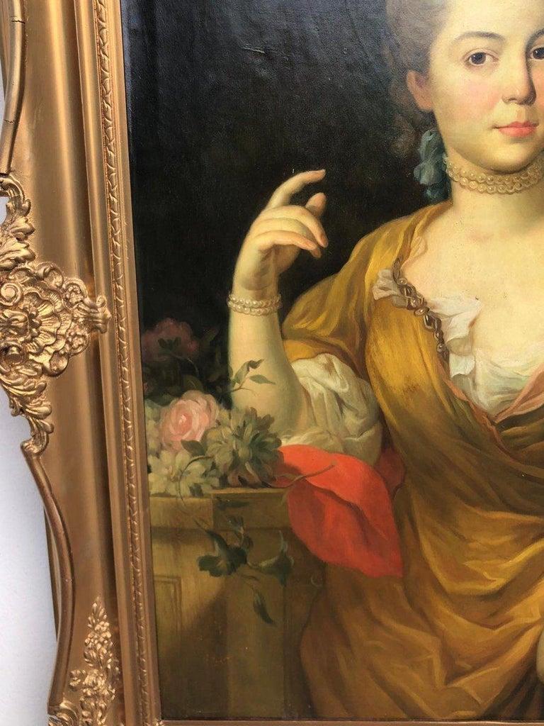 Oiled 19th Italian School Painting Noblewomen Portrait For Sale