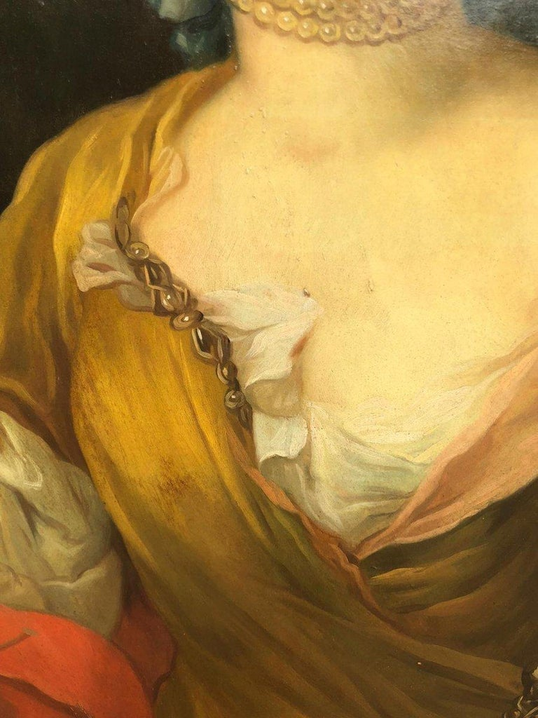 Late 19th Century 19th Italian School Painting Noblewomen Portrait For Sale