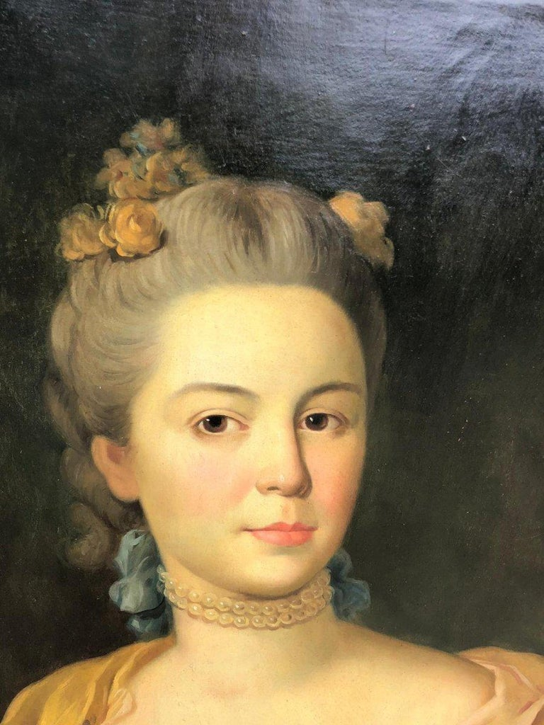 Canvas 19th Italian School Painting Noblewomen Portrait For Sale