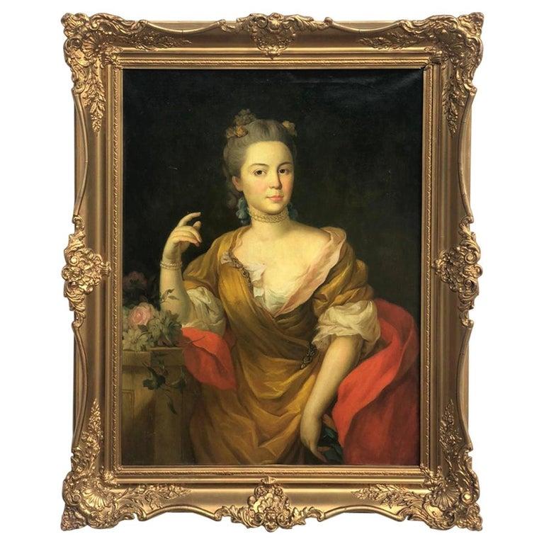19th Italian School Painting Noblewomen Portrait For Sale