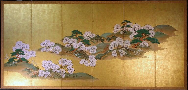Meiji 19th Century Japanese Landscape Rinpa School Folding Screen Six Panels Gold Left For Sale