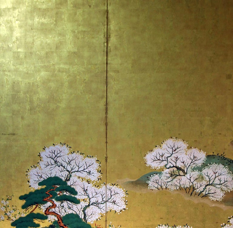 Painted 19th Century Japanese Landscape Rinpa School Folding Screen Six Panels Gold Left For Sale