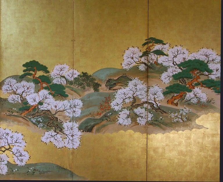 19th Century Japanese Landscape Rinpa School Folding Screen Six Panels Gold Left In Good Condition For Sale In Brescia, IT