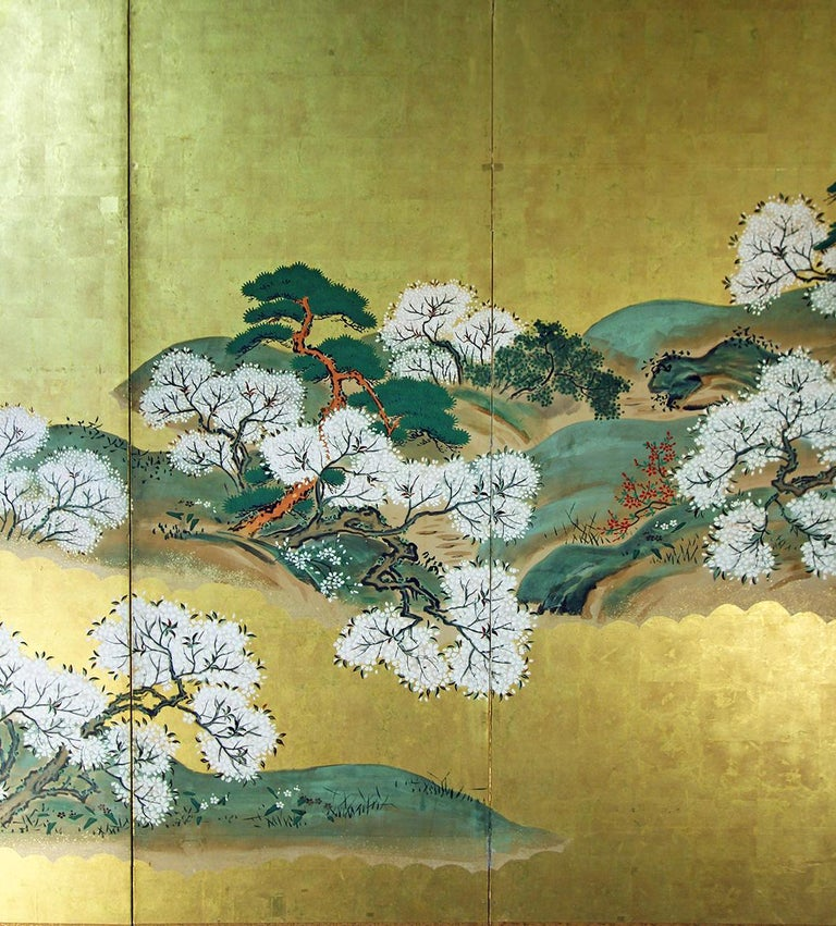 Gold Leaf 19th Century Japanese Landscape Rinpa School Folding Screen Six Panels Gold Left For Sale