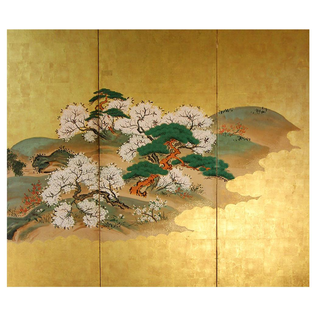 19th Century Japanese Landscape Rinpa School Folding Screen Six Panels Gold Left