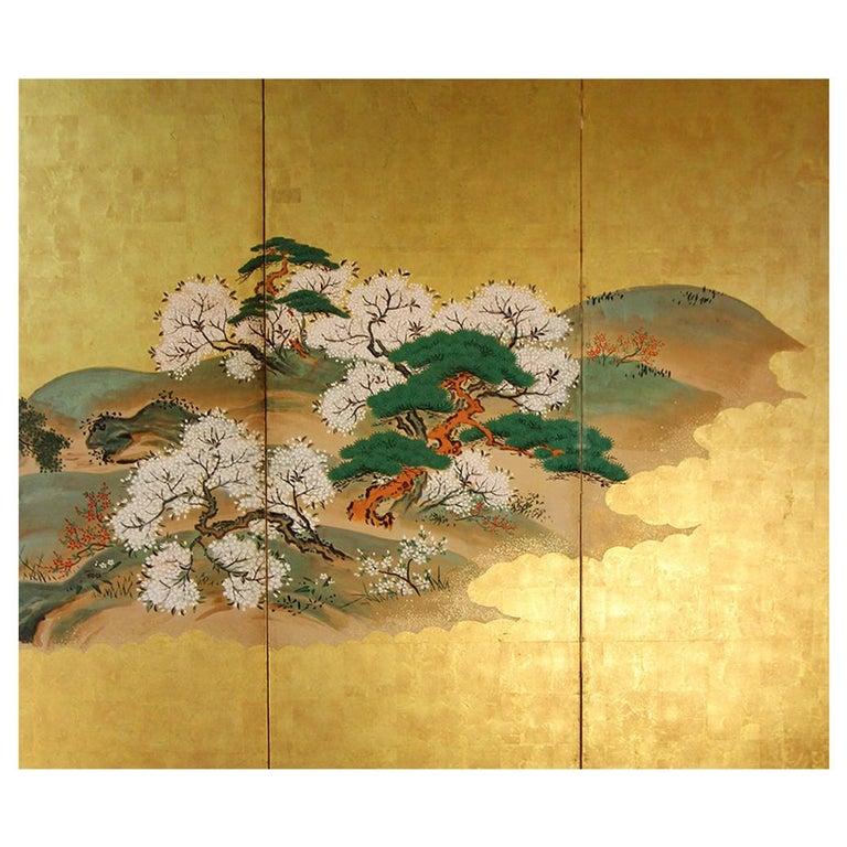 19th Century Japanese Landscape Rinpa School Folding Screen Six Panels Gold Left For Sale