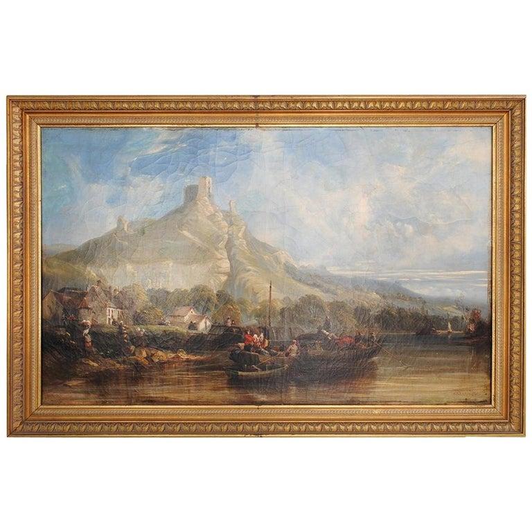 "19th ""Landscape at the Lake"" Oil on Canvas by Désiré Héroult For Sale"