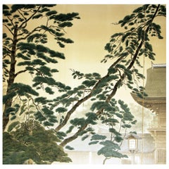 19th Landscape with Forest Tall Trees and Temple, Japanese Screen Hand Paint