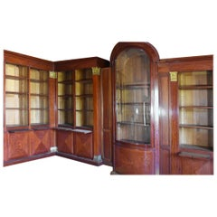 19th Large Empire Style Mahogany Bookcase from French Chateau