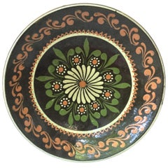 19th Large French Pottery Savoie Floral Platter