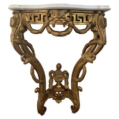 19th Louis XV Giltwood High Console Table with Carrara Marble Top