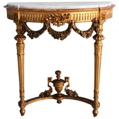 19th Louis XVI Style Gilt Wood Wall Console