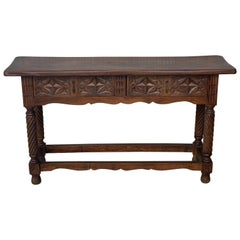 19th Low Spanish Tuscan Console Table with Two Drawers and Solomonic Legs