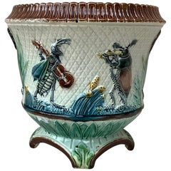 19th Century Majolica Insects Musicians Cache Pot