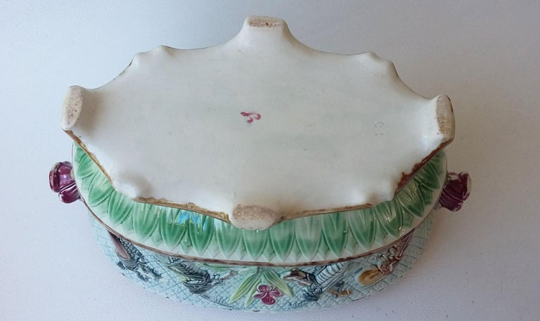 Victorian 19th Majolica Insects Musicians Jardinière For Sale