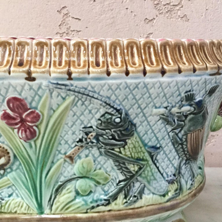 French 19th Majolica Insects Musicians Jardinière For Sale