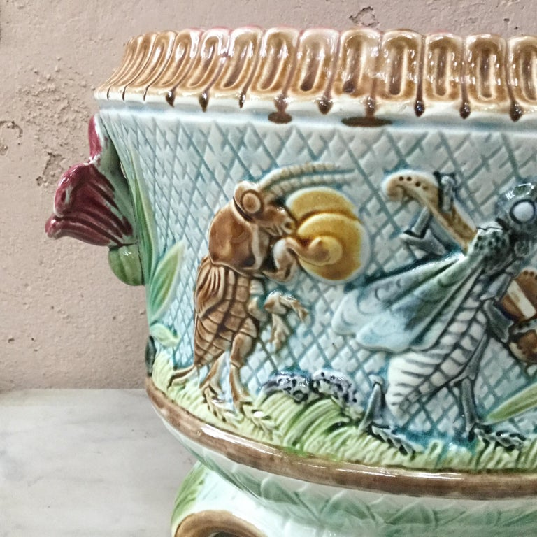 19th Majolica Insects Musicians Jardinière For Sale 2