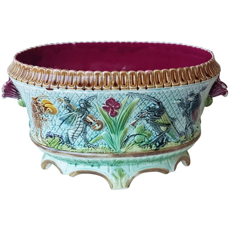 19th Majolica Insects Musicians Jardinière For Sale