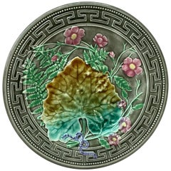 19th Majolica Leaves and Pink Flowers Plate Choisy-le-Roi