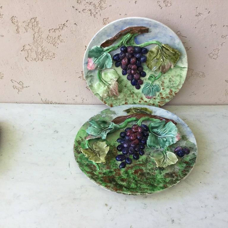 19th Century Majolica Plums Wall Platter Fives Lille For Sale 4