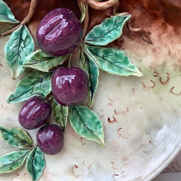 French 19th Century Majolica Plums Wall Platter Fives Lille For Sale