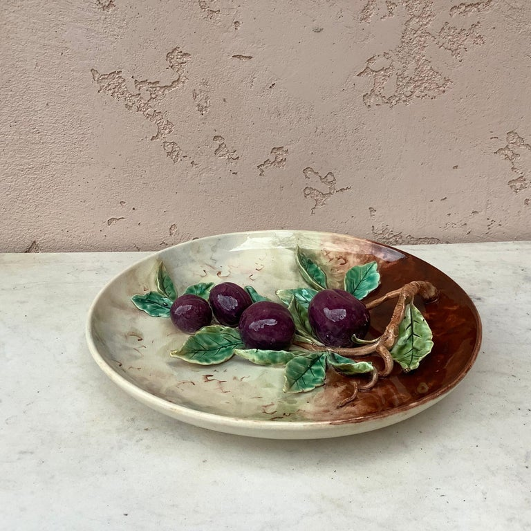 Late 19th Century 19th Century Majolica Plums Wall Platter Fives Lille For Sale