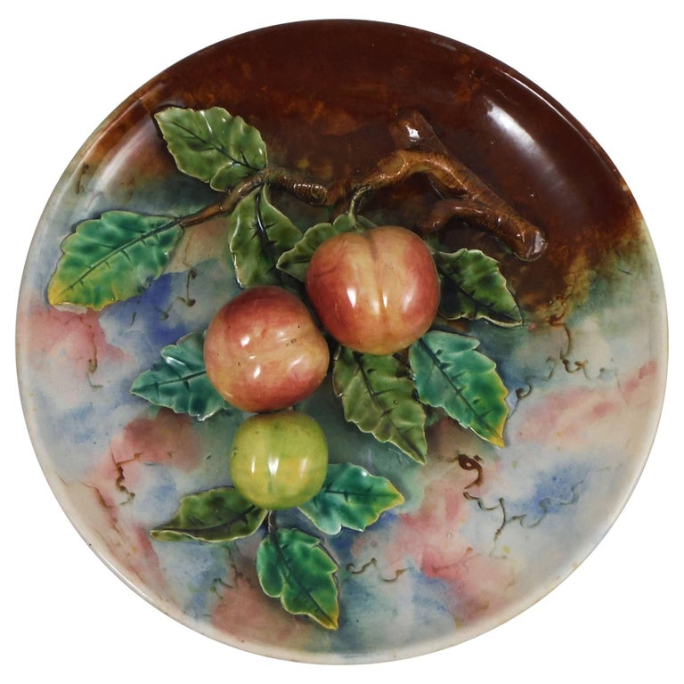 19th Century Majolica Plums Wall Platter Fives Lille For Sale 2