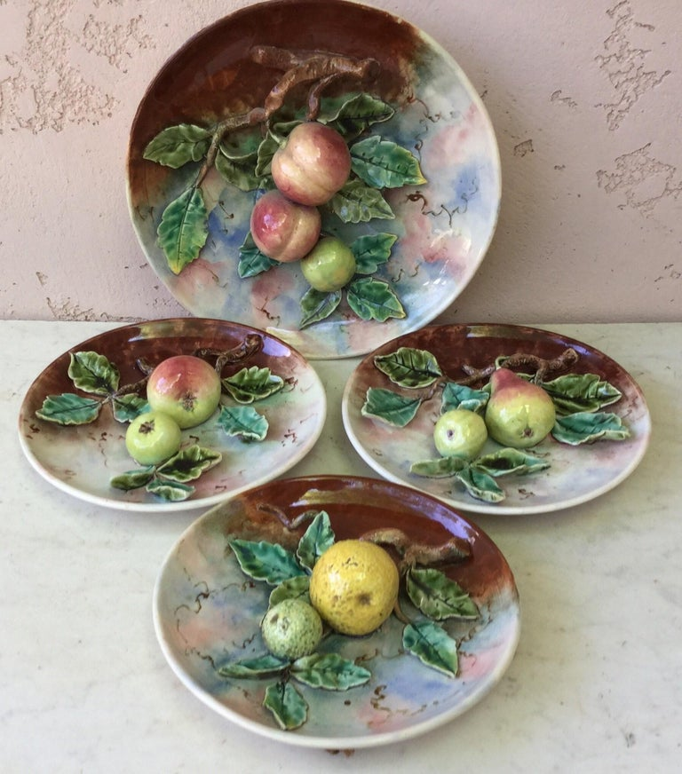 19th Century Majolica Plums Wall Platter Fives Lille For Sale 3