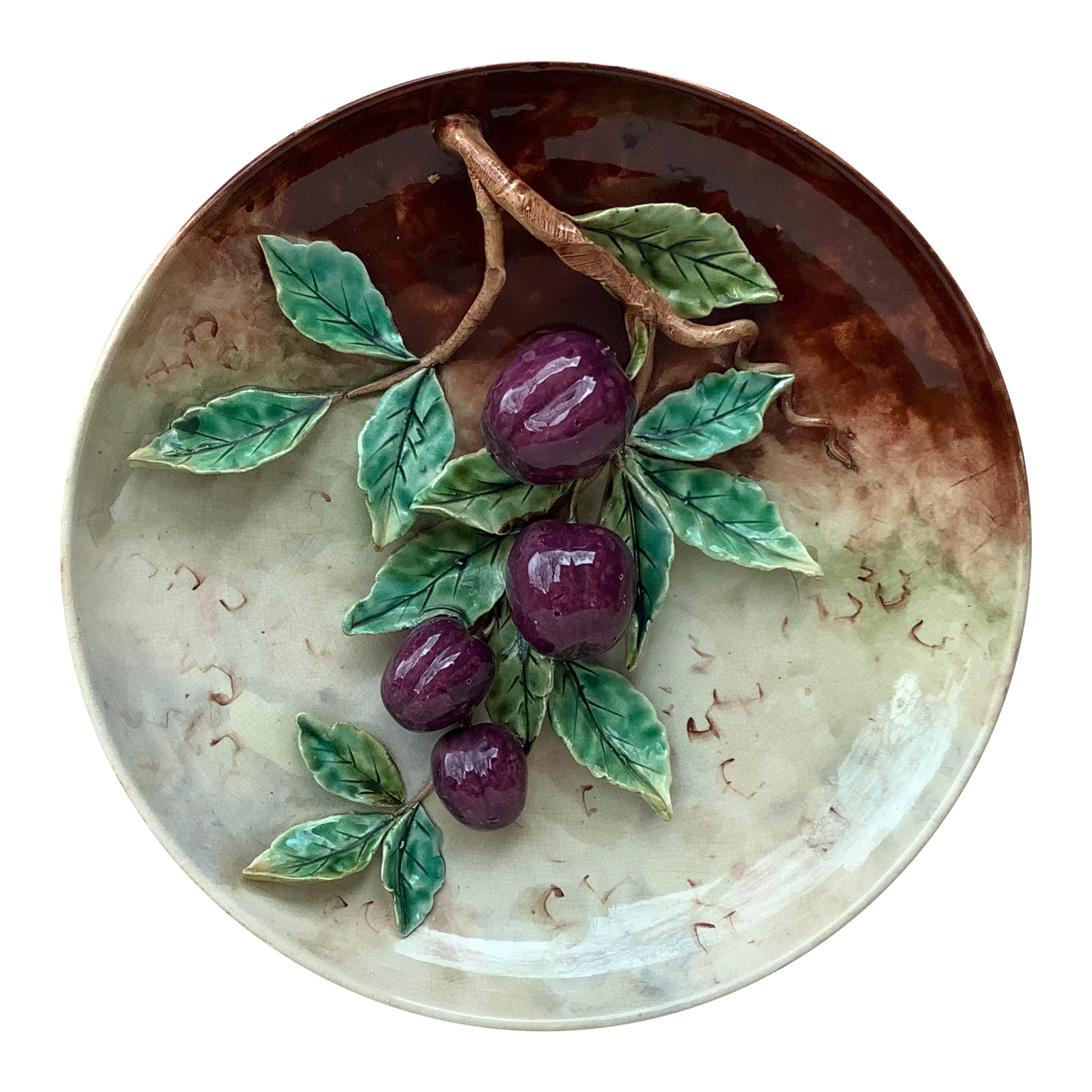 19th Century Majolica Plums Wall Platter Fives Lille