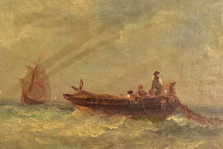 Late 19th century Marine oil painting representing a fishing boat at sea with sailboats in the distance. Period by Paul Seignon (1820-1890).