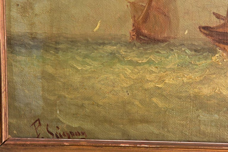 French 19th Century Marine Oil Painting by Paul Seignon For Sale